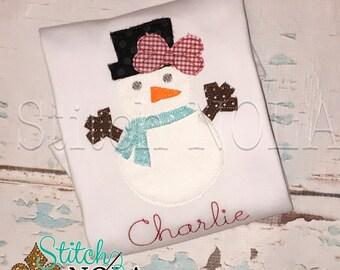 Snowman Applique, Snowman Shirt, Mrs Wonderland Snowman, Snowman Romper, Christmas Shirt, Christmas Applique, Girl Snowman Shirt, Snowman