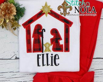 Christmas Nativity Scene Applique Top And Bottom Set, Nativity Christmas Appliqué, Xmas Outfit, Christmas Outfit