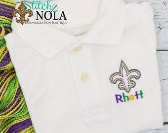 Mardi Gras King Fleur de lis Collard Shirt, Mardi Gras Collard Shirt