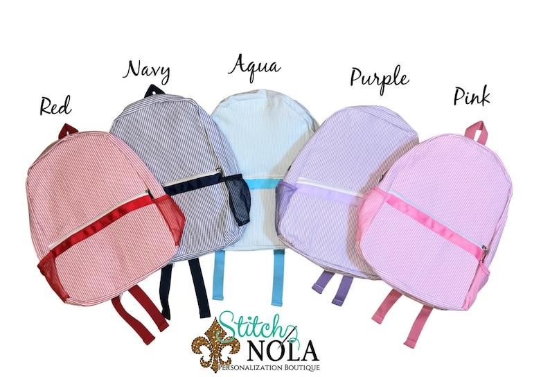 School Bag Book Bag Seersucker Diaper Bag Diaper Bag Seersucker Backpack with Sailboat Seersucker School Bag Backpack Seersucker Bag