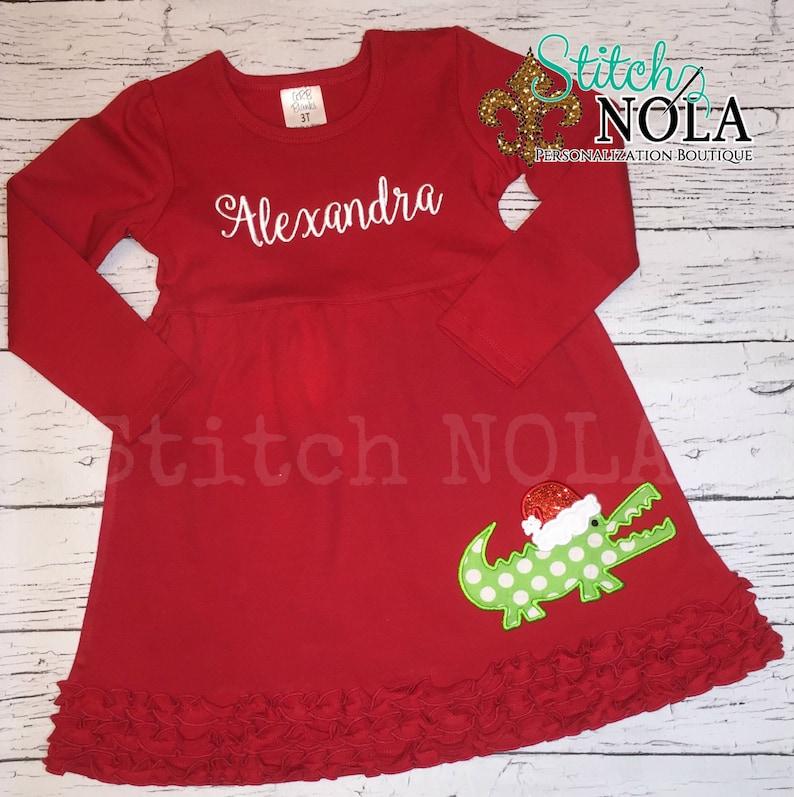 Santa Gator Girl Long Sleeved Red Ruffle Dress