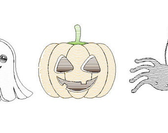 Halloween Trio Sketch Embroidery, Pumpkin, Ghost and Spider Embroidery