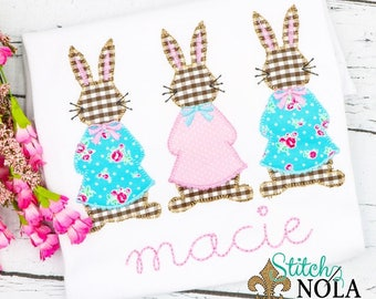Mrs Cottontail Applique, Girl Bunny Trio Applique, Rabbit Trio Applique,  Easter Rabbit Applique, Bunny Rabbit Tee, Girls Easter