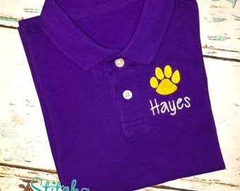Monogrammed Polo, Purple Monogrammed Polo, Gold Monogrammed Polo, Purple and Gold Polo, Tiger Polo, Football Polo, Tigers Shirt