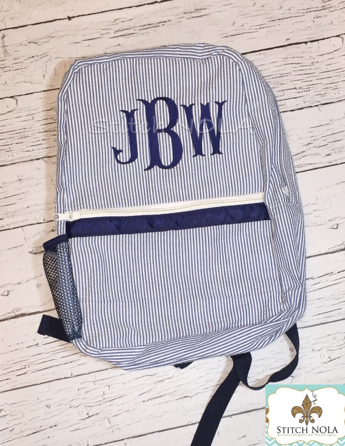 Seersucker Backpack with Monogram c6df7c567fd38