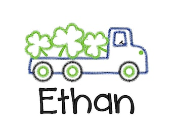 St Patrick's Day Truck Applique, Truck with Clovers Applique, Flatbed Truck with Shamrocks Applique, Truck with Clovers Tee