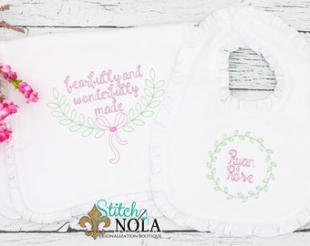 Laurel Wreath Monogram, Wreath Monogram, Baby Girl Layette Set, Fearfully and Wonderfully Made, Newborn Going Home Outfit