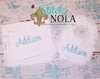 SHIPS FAST!!  Monogrammed Bib or Burp Cloth