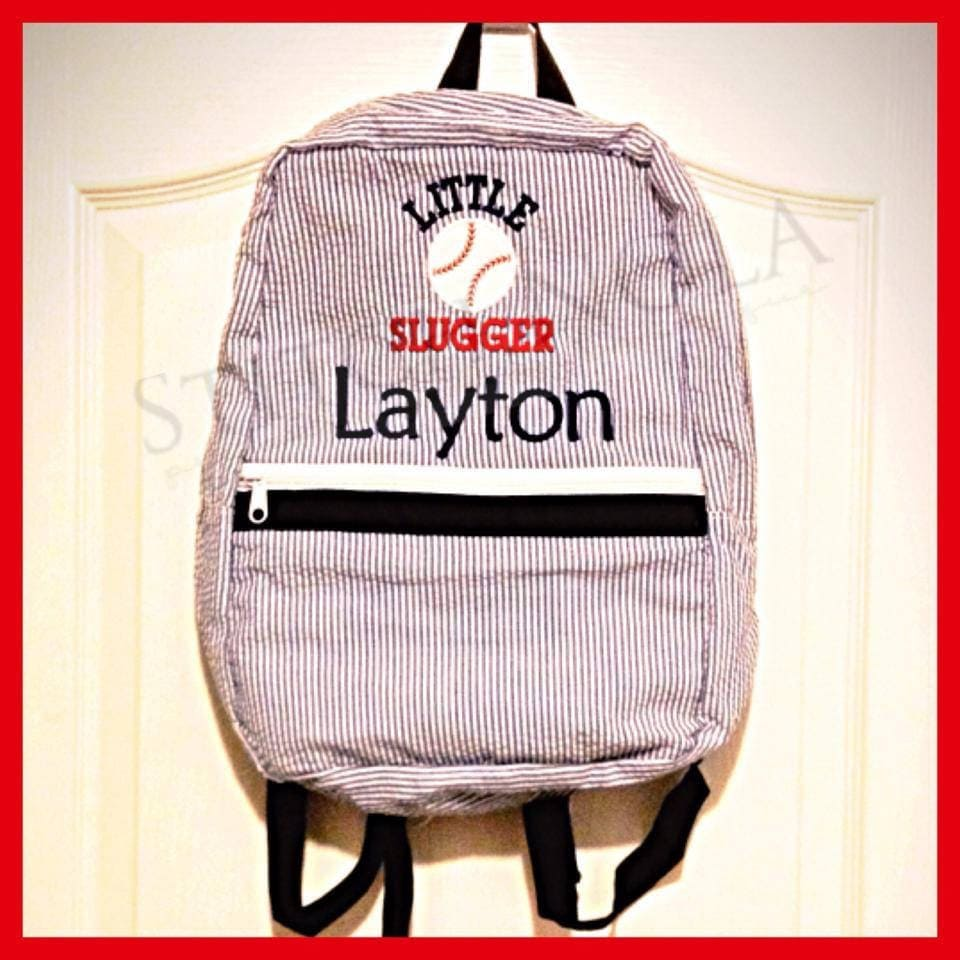 9c5f3a4bd041 Seersucker Backpack with Little Slugger Baseball