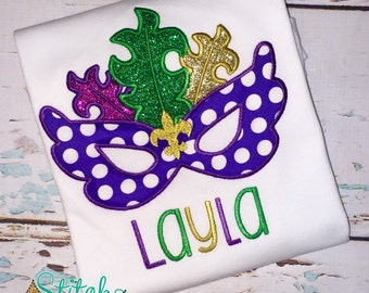 Mardi Gras Mask with Glitter Feathers Shirt, Gown or Bodysuit