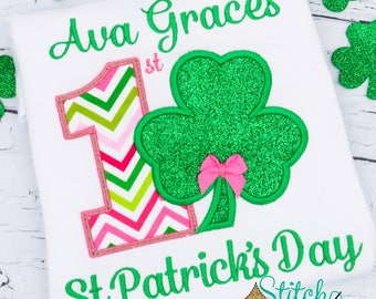 First St Patricks Day Applique, Baby's 1st St Patricks Day, Shamrock Applique, Clover Applique , St Patricks Day Applique,