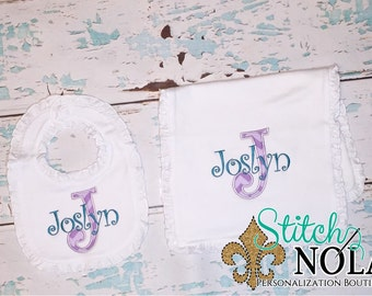 Appliqué Letter Bib & Burp Cloth Set