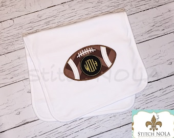 Bib OR burp cloth - Football Monogram Applique