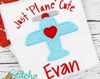 Valentine's Day Shirt, Valentine's Day Applique, Just Plane Cute Applique, Airplane Applique, Boys Valentine's Day tee