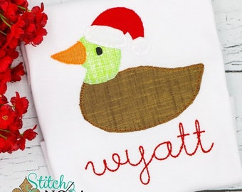 Mallard Duck with Santa Hat, Santa Duck Applique, Christmas Duck Applique