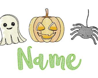 Halloween Trio Sketch Embroidery, Pumpkin, Ghost, Spider