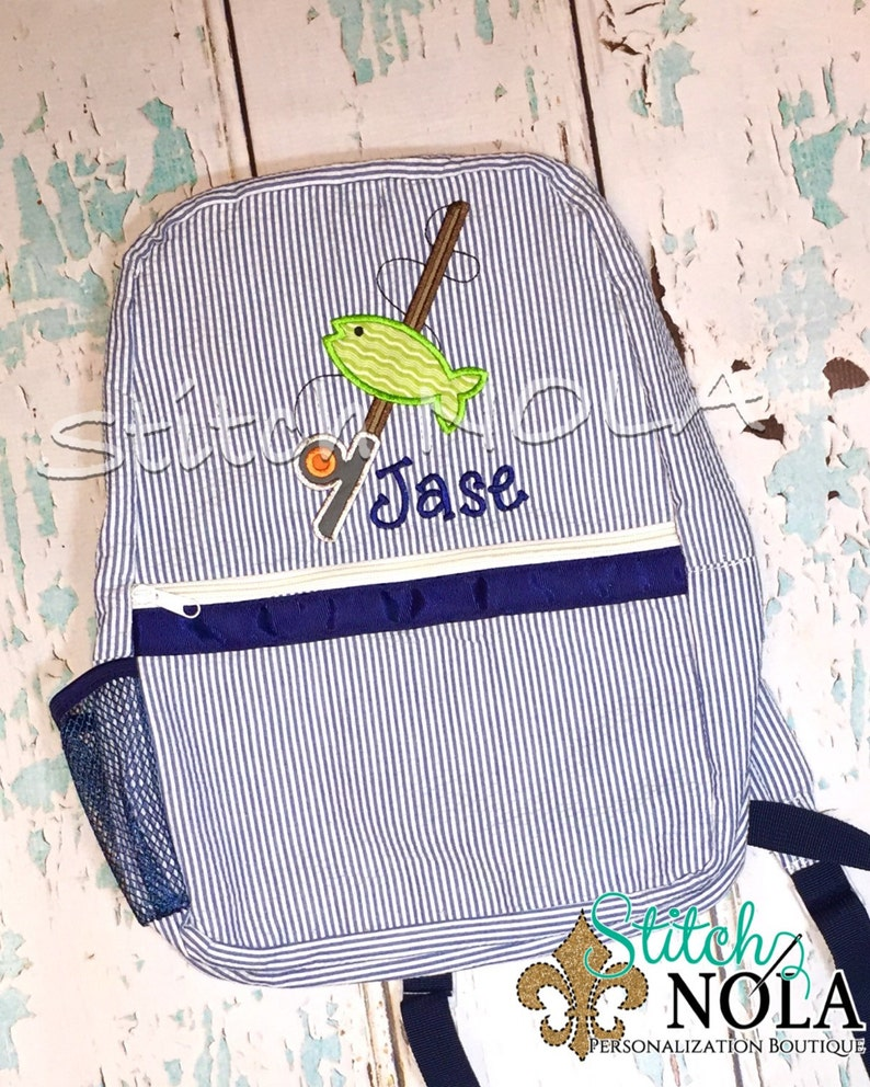 Diaper Bag Seersucker Diaper Bag Seersucker Bag Seersucker Backpack with Fish and Fishing Pole Seersucker School Bag School Bag