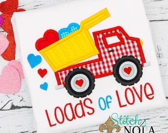 Valentine's Day Dump Truck Applique, Dump Truck with Hearts, Boys's Valentine's Day Shirt, Truck with Hearts