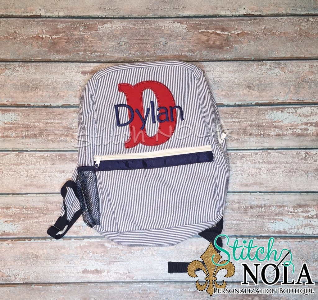 Seersucker Backpack with Letter Applique 9aab929c6859c
