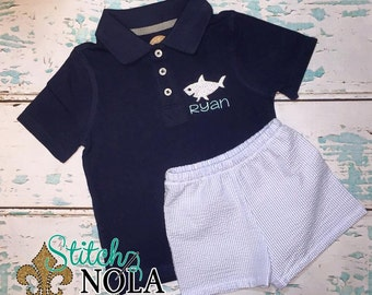 Shark Collarded Shirt & Seersucker Shorts Set
