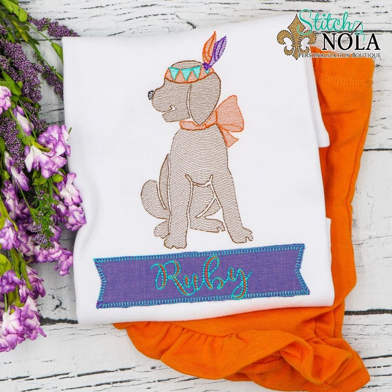 Indian Headdress Embroidery Indian Dog Sketch Girl Dog Thanksgiving Outfit Indian Dog Vintage Embroidery Shirt and Shorts Set