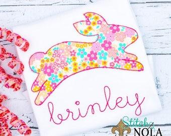 Floral Bunny APPLIQUE, Bunny Applique, Rabbit Applique, Easter Applique, Rabbit Monogram, Easter Shirt