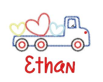 Valentine's Day Truck Applique, Truck with Hearts Applique, Flatbed Truck with Hearts Applique, Truck with Hearts Tee, Boys Valentines Tee