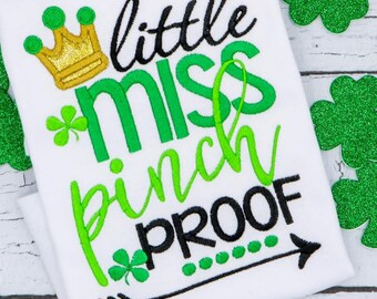 St Patrick's Day Applique, Little Miss Pinch Proof, Shamrock Applique, Clover Applique, Girl St Patrick's Day, St Patty's Day, Lucky Shirt