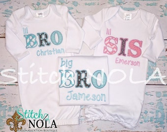Sibling Set Bubble, Tee, Gown, or Bodysuit