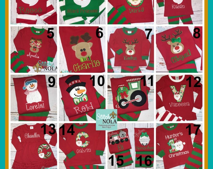 Featured listing image: Red/GREEN ONlY Children's Christmas Pajamas, Xmas PJs, Christmas Pjs