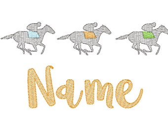 Horse Race Trio Sketch Embroidery, Kentucky Derby, Horse Race Embroidery
