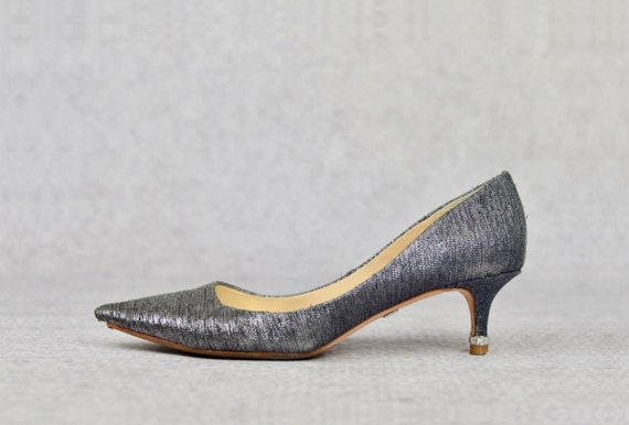 The Silver Kitten Heels - vintage Badgley Mischka