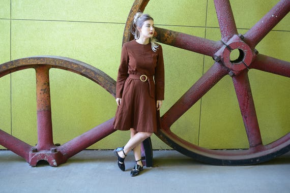 1960s Brown Dress, New Old Stock, 1950s Dress with