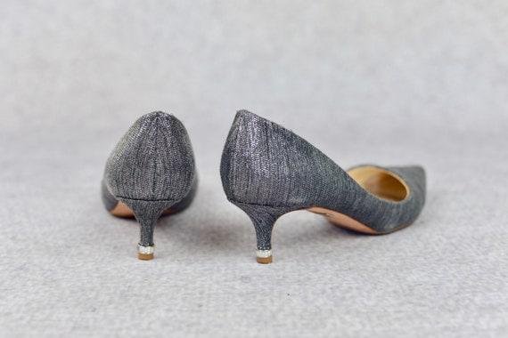 The Silver Kitten Heels - vintage Badgley Mischka… - image 4