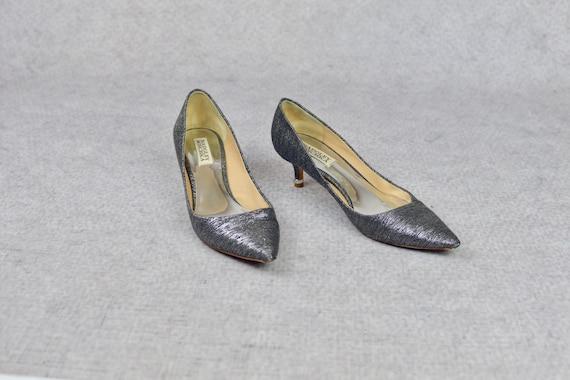 The Silver Kitten Heels - vintage Badgley Mischka… - image 2