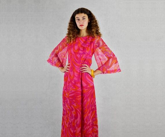 Mod Swirl Empire Waist Dress  - a 1960's dress by