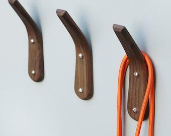 Coat hooks Walnut Wood - Steam bent curve