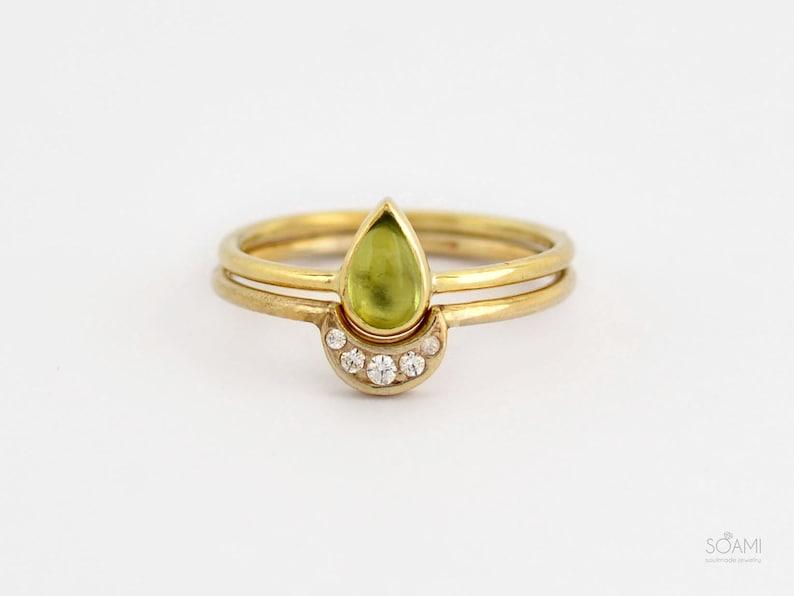 Stacking teardrop gold ring peridot contour ring set olivine engagement ring set half moon and tear drop peridot ring
