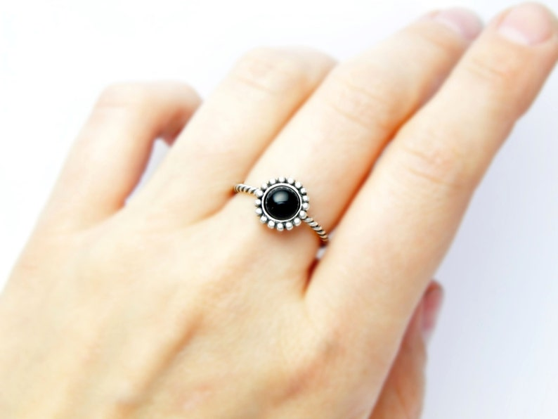 silver ring onix Silver Black ring silver ring black stone silver twisted ring Black onix ring