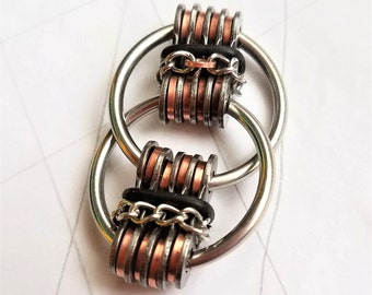 STACKED DUAL BAND: Bike Chain Fidget Restless Hand Toy, Hand Exerciser, Stim Toy, Upcycled