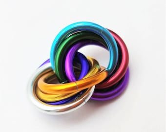 Half Möbii Rainbow: Small Mobius Hand Fidget Toy, Shiny Stress Rings for Restless Hands, Office Toy