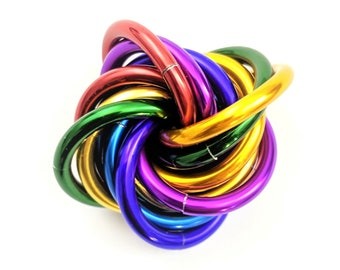 Möbii Rainbow: Small, Mobius Fidget Ball, Mobii Stim Toy, Office Toy, for Restless Hands. Distract from Anxiety, ADHD, and Stress
