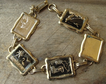 Shabby bracelet for salvage and upcycling - rectangle metal two hole cabochon settings
