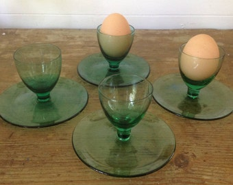 Set of 6 green glass egg cups