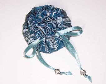 Blue Jewel Pouch, Drawstring Pouch, Jewelry Pouch, Jewelry Holder, 8 pocket bag