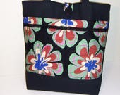 Reduced Totebag, Fabric Totebag, Black Totebag, Floral Print Bag, Multiple Pocket Tote, Zipper Tote
