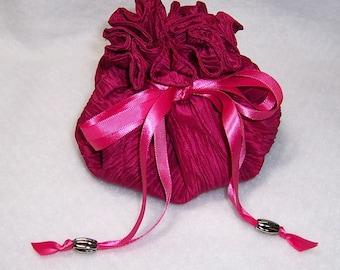Jewelry Pouch, 8 Pocket Pouch, Fuschia Bag, Drawstring Bag, Jewelry Holder, Travel Accessory
