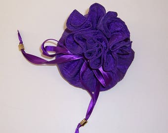 Purple Jewelry Pouch, Drawstring Pouch, Jewelry Holder, 8 Pocket Pouch