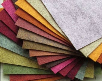 21 -  Fall Colors Collection - Merino Wool blend Felt Sheets