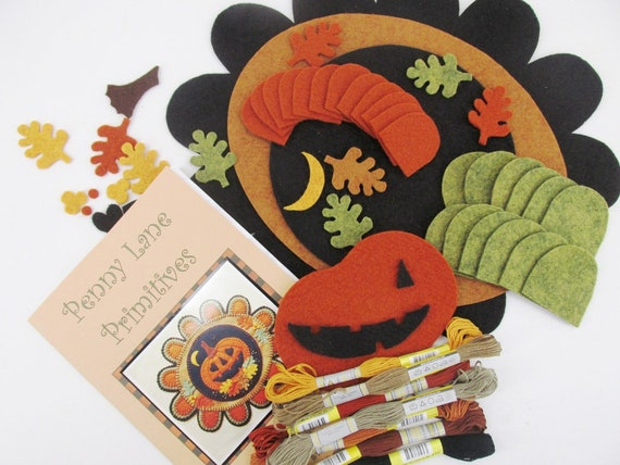 Falling in Love Penny Rug Kit Pre Cut and Pre Washed Applique Kit Pumpkin Pattern